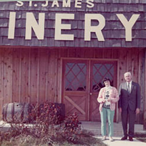 The Hoffher family standing in front of the winery in the 1970s