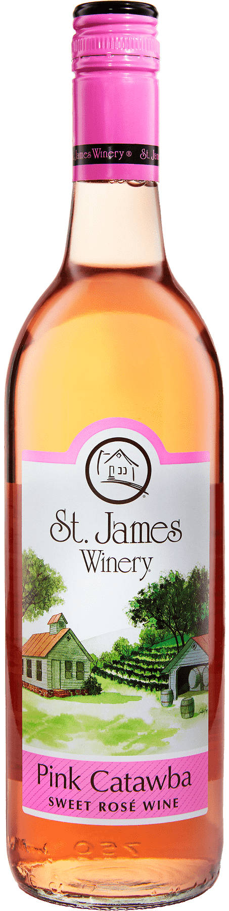Pink Catawba Sweet Rose Wine - St. James Winery Missouri