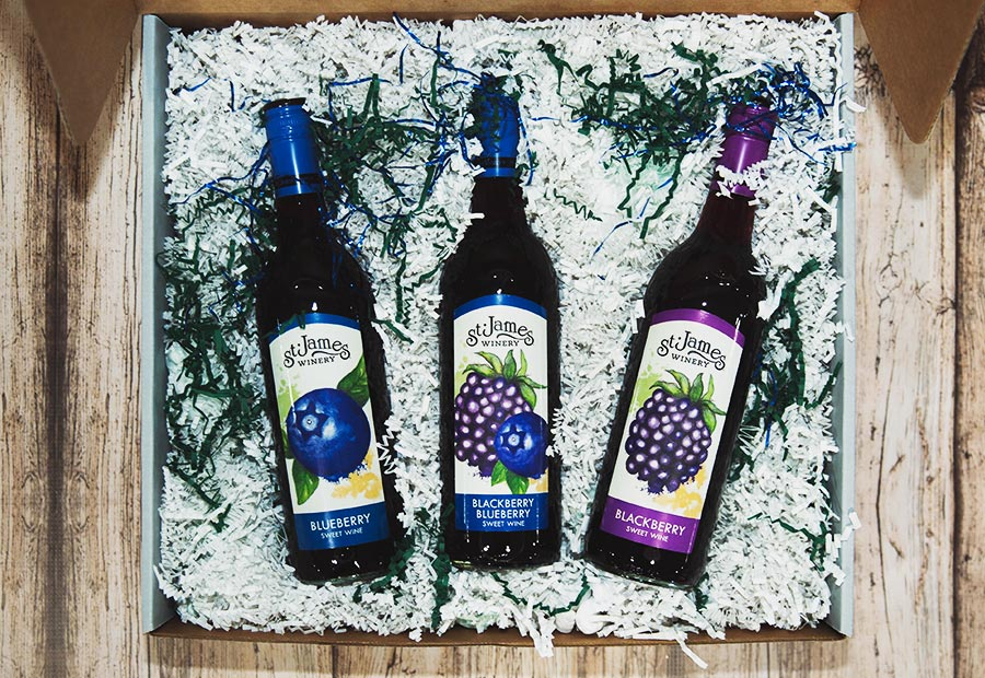 Black and Blue Gift Box - Includes: St. James Winery Blueberry sweet wine, St. James Winery Blackberry sweet wine, St. James Winery Blackberry Blueberry sweet wine