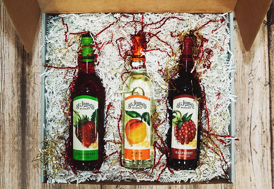 Fruit Wine Gift Box - Includes: St. James Winery Strawberry sweet wine, St. James Winery Peach sweet wine, St. James Winery Raspberry sweet wine