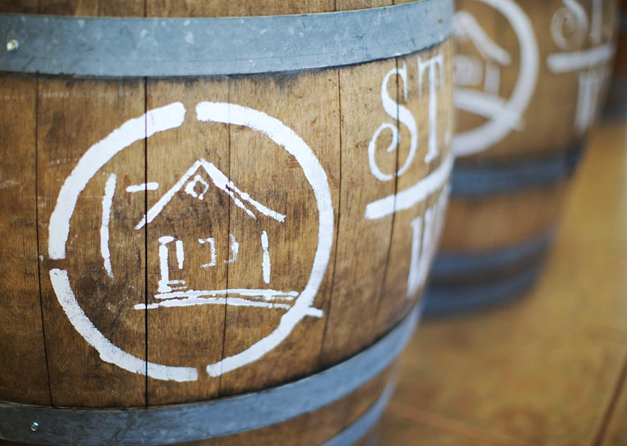 Decorative barrel with St. James Winery logo at St. James Winery Missouri