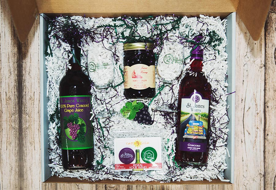 Concord Gift Box - Includes: Concord Wine, Concord Juice, Concord Jelly, St. James Winery Magnet, SJW bottle topper, SJW stemware 6.5 oz X 2.