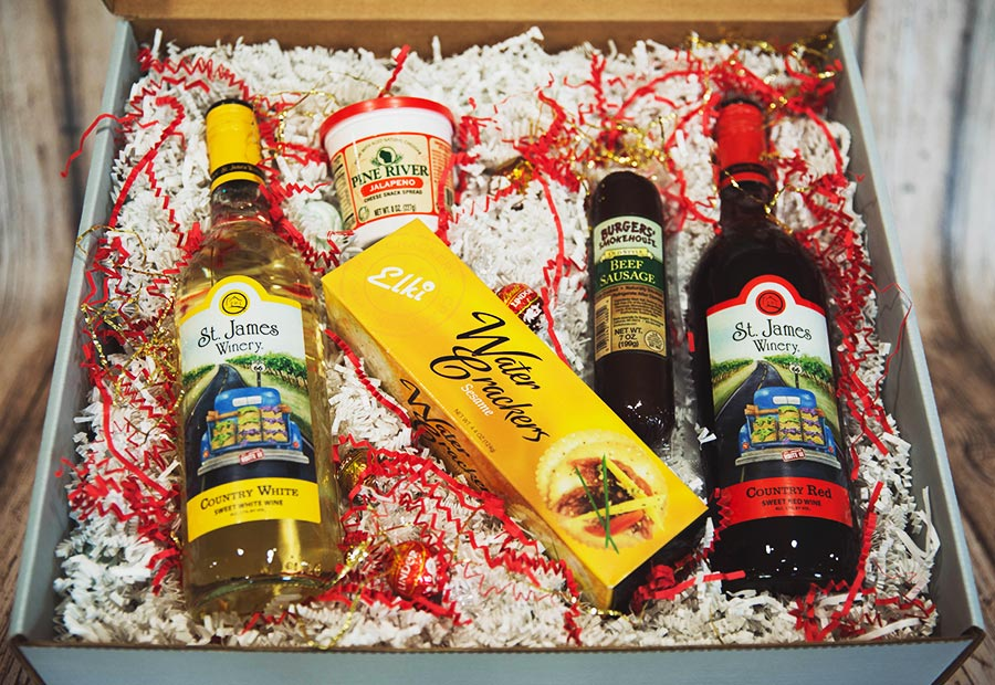 Country Celebration Gift Box - ncludes: Country White, Country Red, Elik Water Crackers Sesame, Lindt Truffles X 4, Pine River Jalapeno, Burgers Beef Sausage 7oz. - St. James Winery Missouri