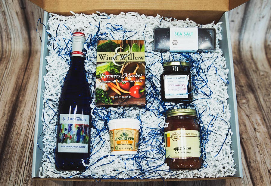 Friendship Gift Box - Includes: St. James Winery Friendship School White, cheese spread, St. James Winery Apple Salsa, Wind & Willow Dip Mix, Pappy's Gourmet Strawberry Jam and chocolate truffles.