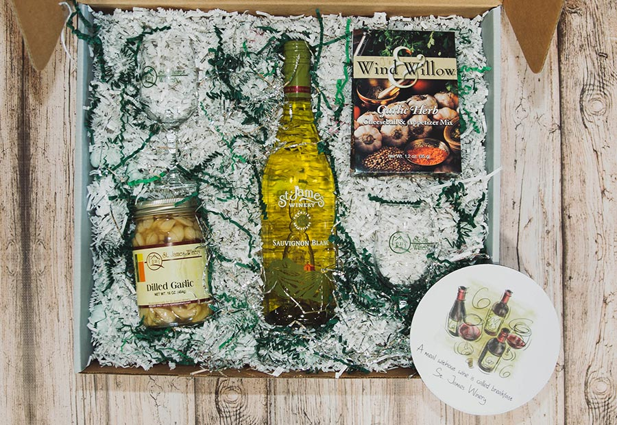 Garlic Frontier Box - St. James Winery - Includes: Sauvignon Blanc, dill garlic, garlic herb cheese ball, St. James Glasses 6.5 oz X 2, St. James bottle coaster.