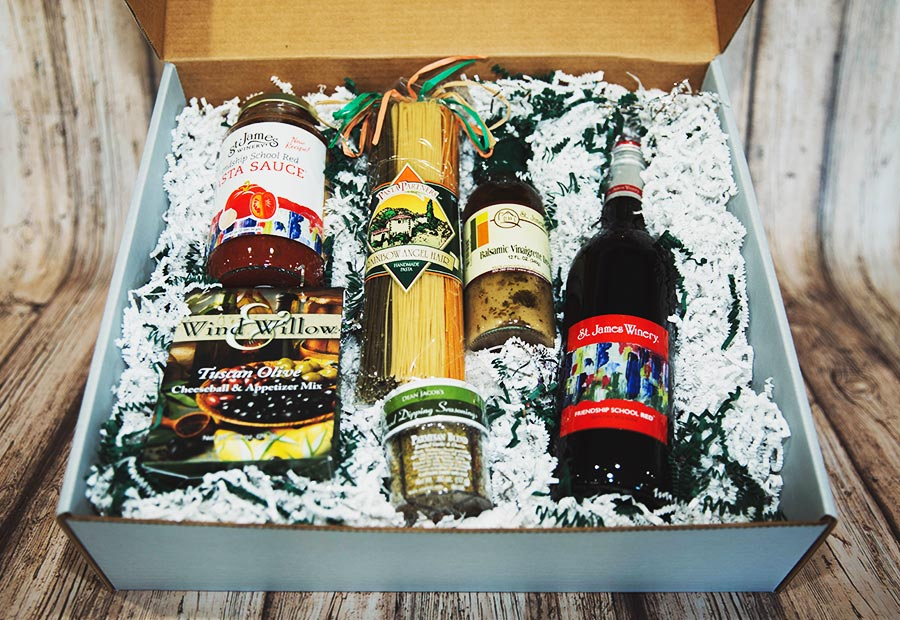 Italian Dinner Box - Includes: St. James Winery Friendship School Red, Heritage Recipe Pasta Sauce, Pasta Partners Pasta, Extra Virgin Olive Oil, Xcell Italian Spice Shaker, Chocolate Chocolate Chocolate Artisan Truffles in our newly designed St. James Winery box.