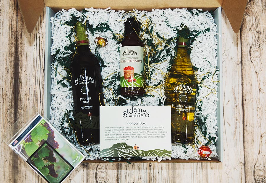 Pioneer Gift Box - Includes: Both Pioneer Red and White, Lindor Truffels, Raspberry Chipotle BBQ Sauce and Lantern St. James Winery Patch